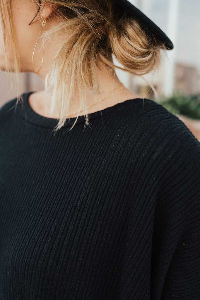 """Evelyn"" Knit Pullover Sweater, Black"