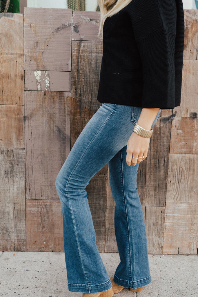 """Faye"" High Rise Flare Jeans, Dark Wash"