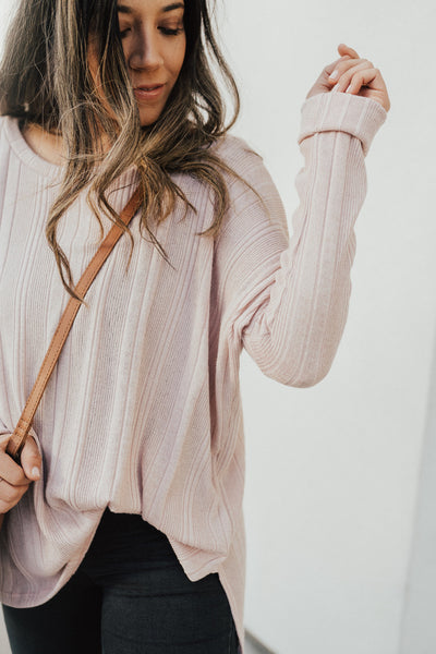 """Evelyn"" Knit Pullover Sweater, Blush"