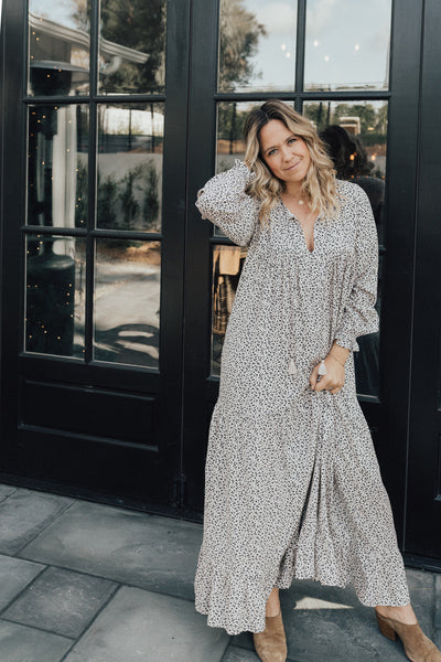 """Laurel"" Boho Maxi Dress, Charcoal Leopard"