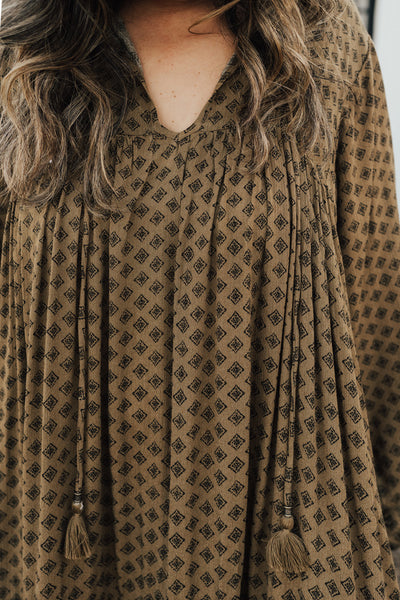 """Laurel"" Boho Maxi Dress, Olive"