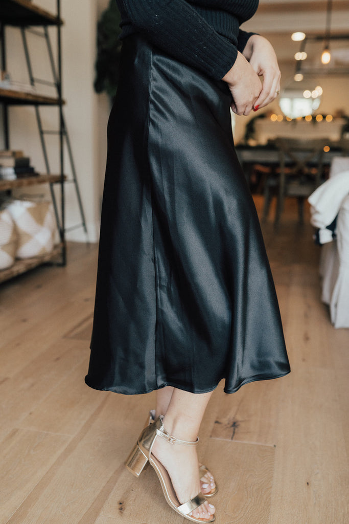 """Ramona"" Satin Skirt, Black"