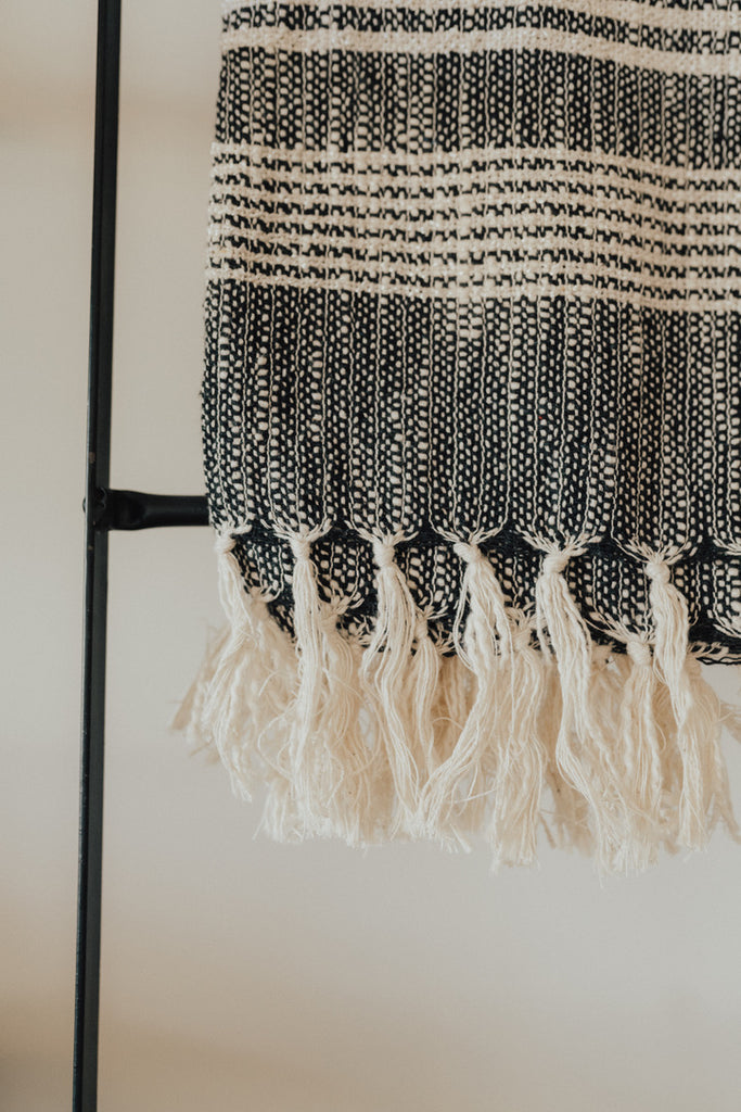 """Monterey"" Throw Blanket, Black and Ivory"