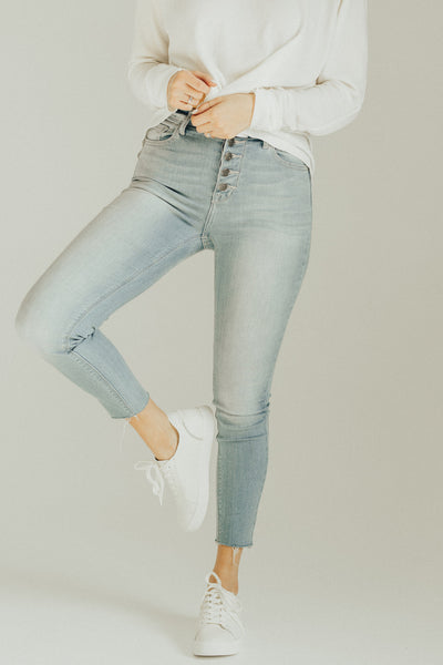 """Ada"" High Rise Skinny Jeans, Light Wash"