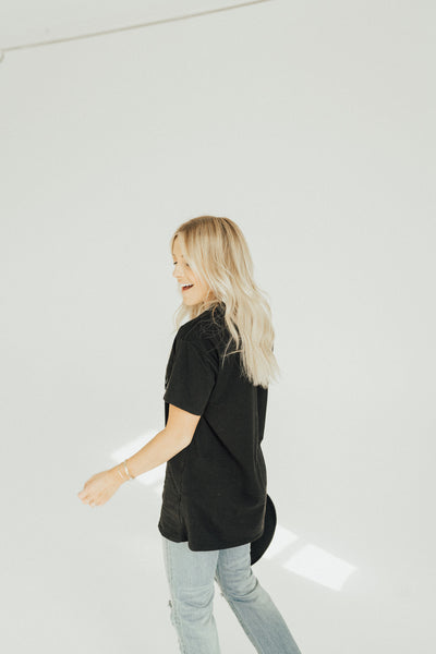 """Carly Jean"" Oversized Boyfriend Tee, Black"