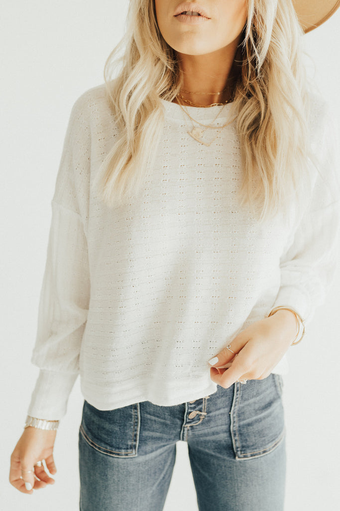 """Delta"" Knit Relaxed Pullover, Ivory"