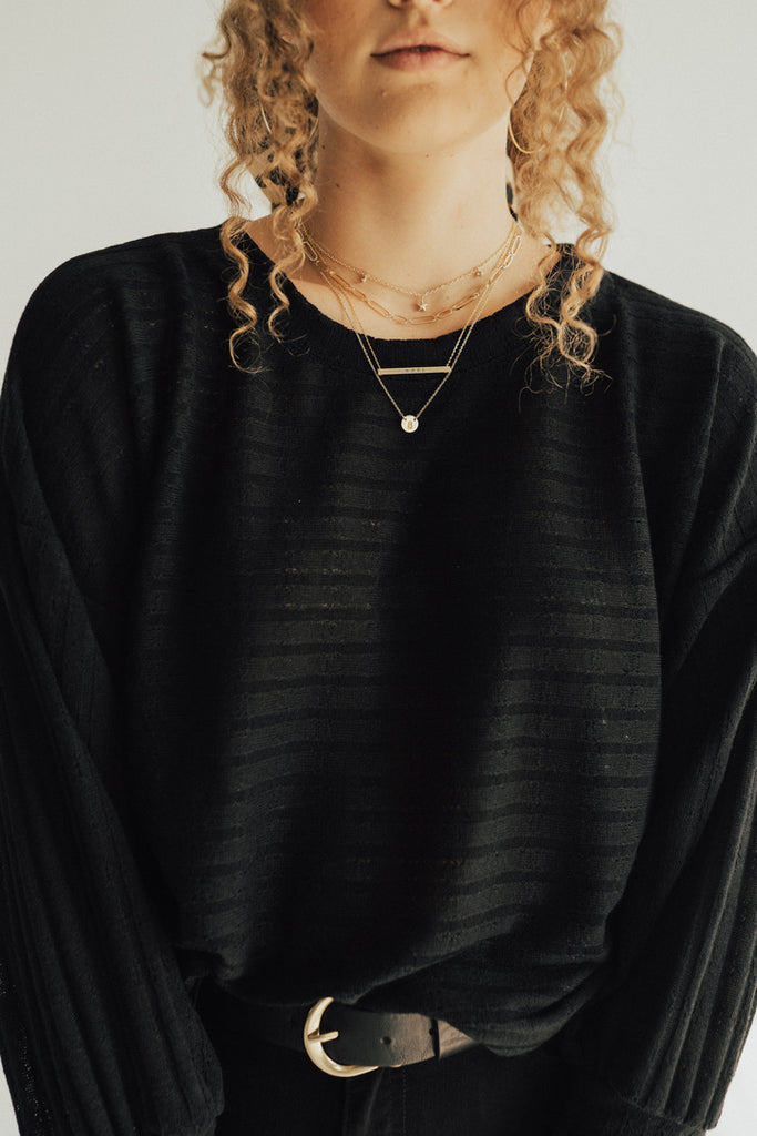 """Delta"" Knit Relaxed Pullover, Black"