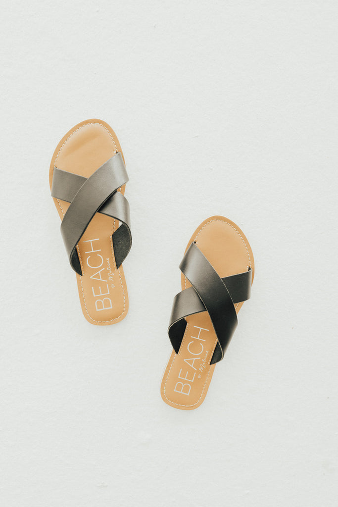 """Pebble"" Minimalist Slide Sandal, Black"