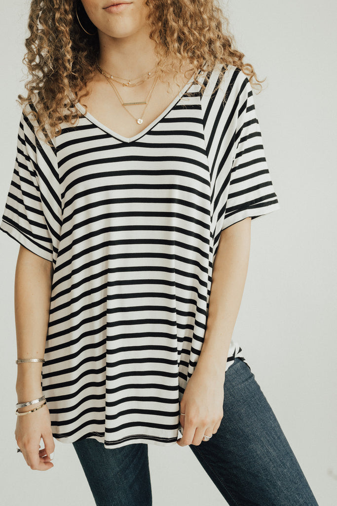 CJ's Favorite Boyfriend Tee, Ivory and Black