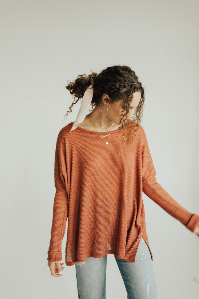 """Evelyn"" Pullover Sweater, Rust"