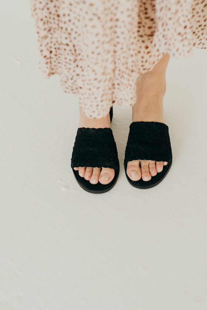 """Andi"" Hand Woven Suede Sandal, Black"