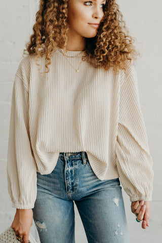 """Arley"" Ribbed Knit Pullover, Cream"