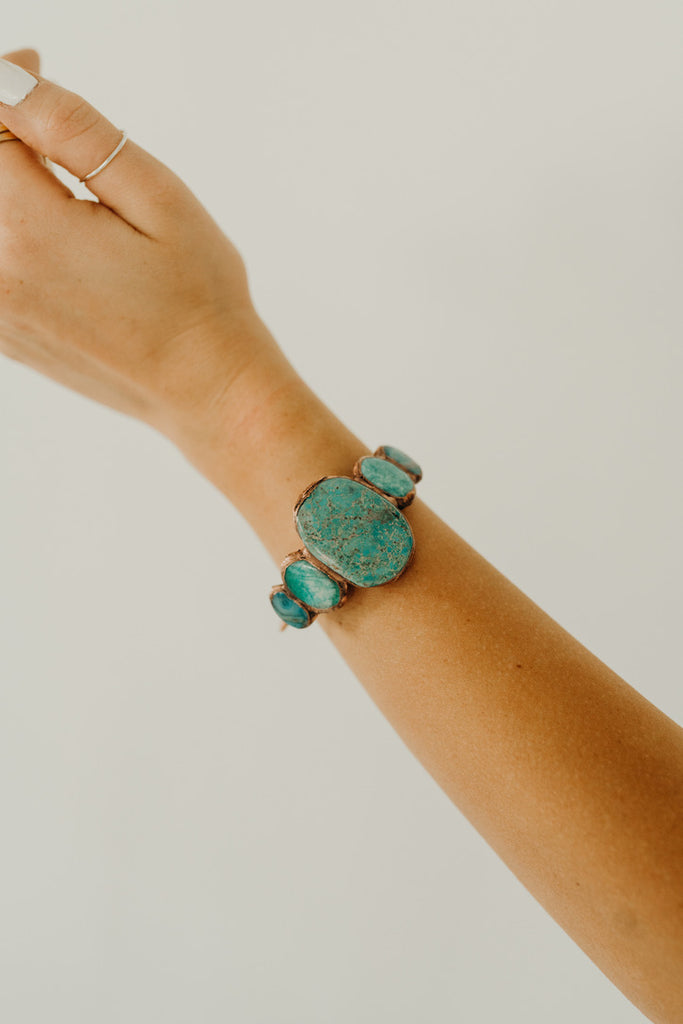 """Rey"" Cuff, Gold and Turquoise"