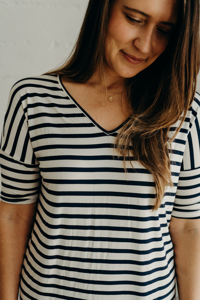 CJ's Favorite Midi, Navy and Ivory