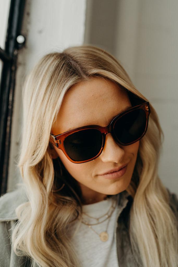 """Leo"" Oversized Sunnies, Rust Tortoise"