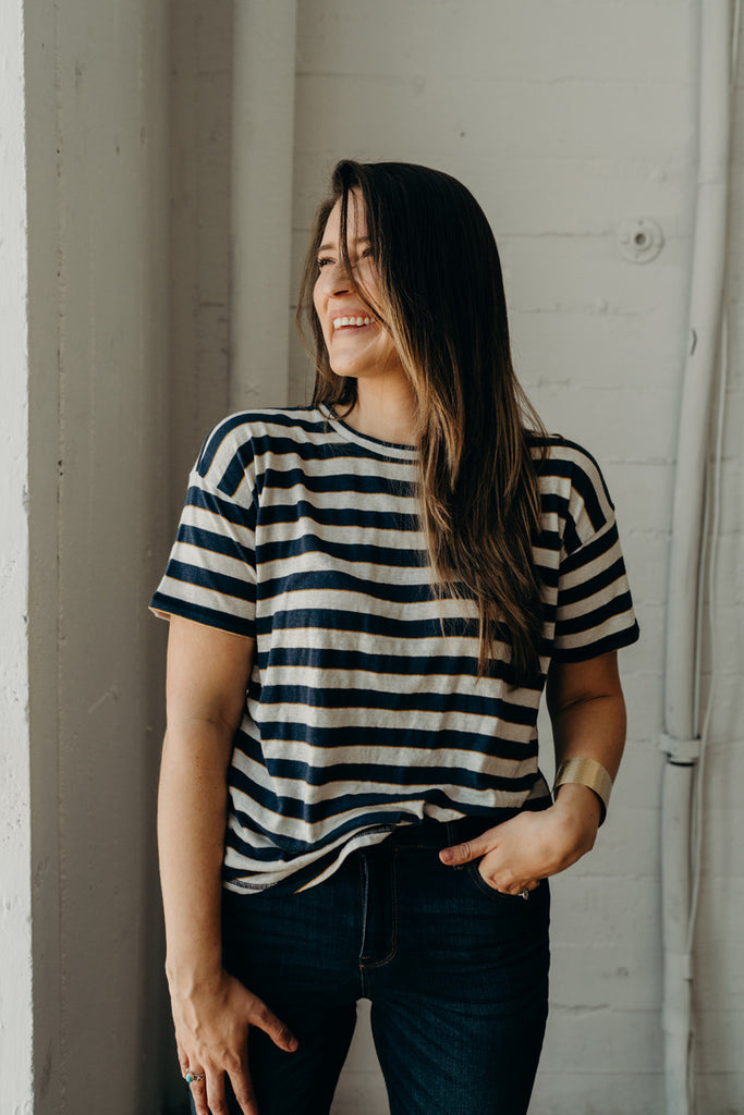 """Olivia"" Striped Tee, Navy and Ivory"