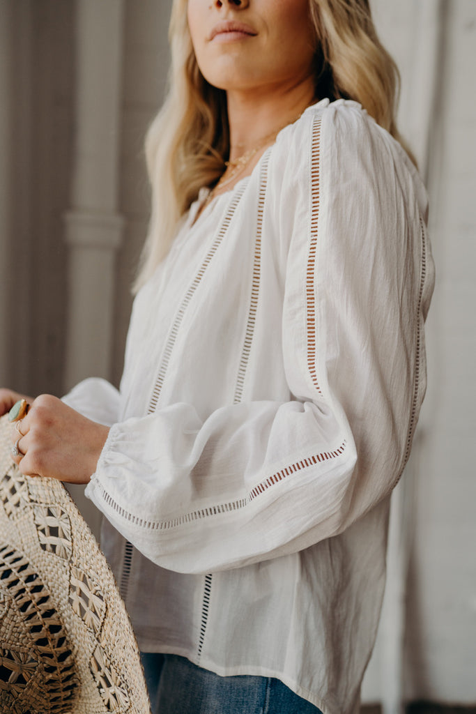 """Issa"" Peasant Blouse, White"