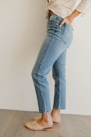 """Clarke"" High Waisted Cropped Jeans, Medium Wash"