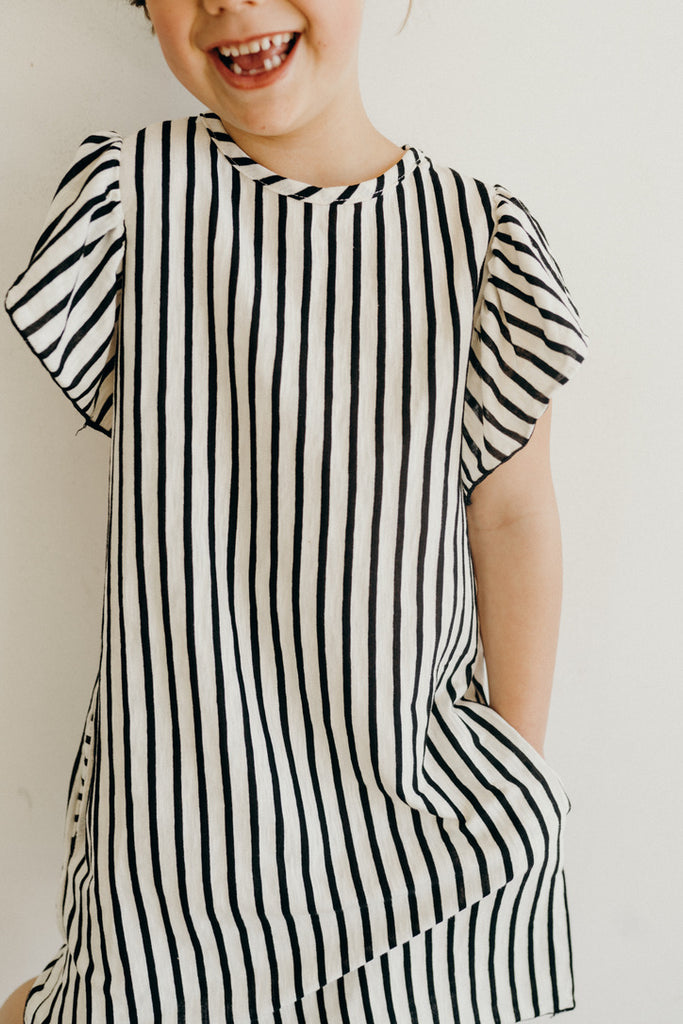 """Michelle"" Ruffled Sleeve Dress, Striped"