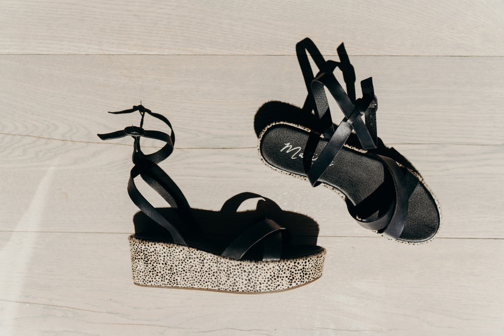 """Sure Thing"" Platform Wedge Sandal, Black"