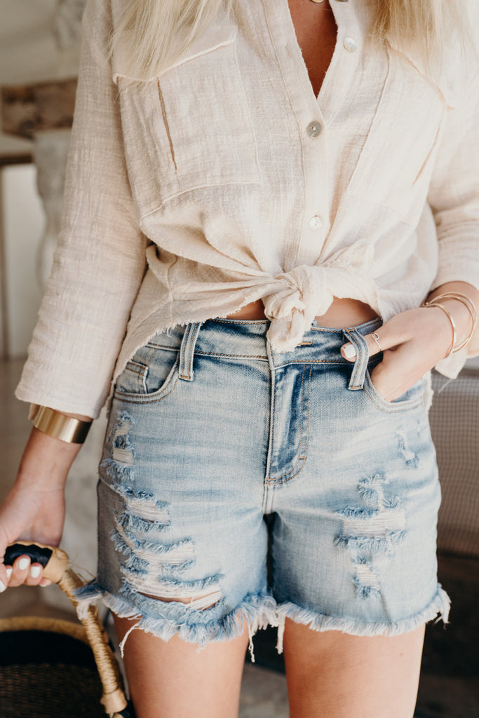 """Larsen"" Distressed Shorts, Light Wash"