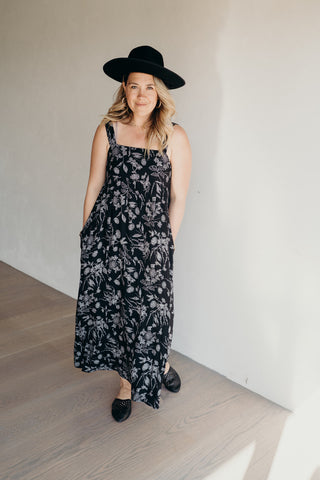 """Dylan"" Printed Maxi Dress, Black"