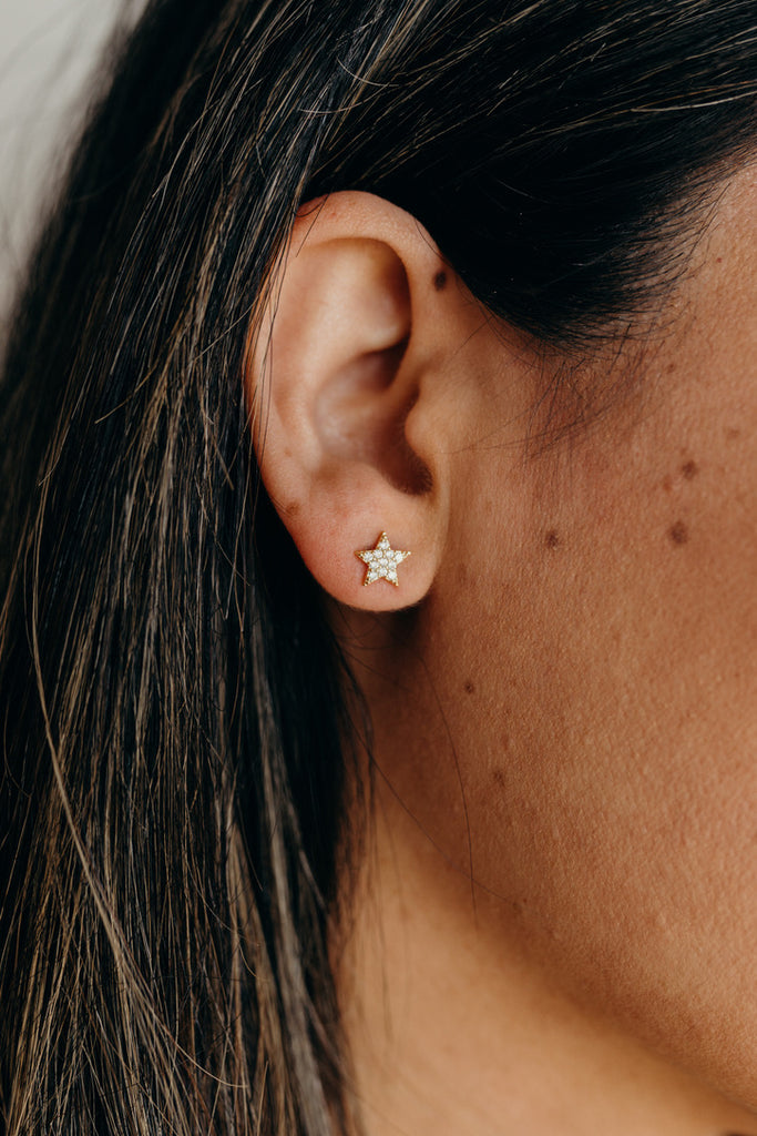 """Wilder"" Star Stud Earrings, Gold"