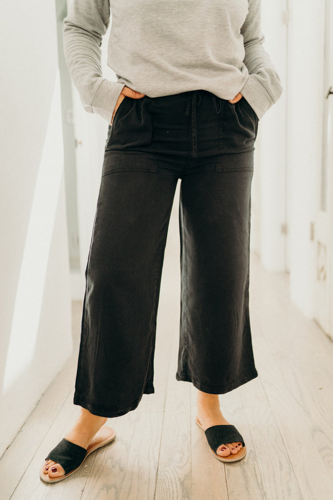 """Nolan"" Slim Wide Leg Tencel Pants, Black"