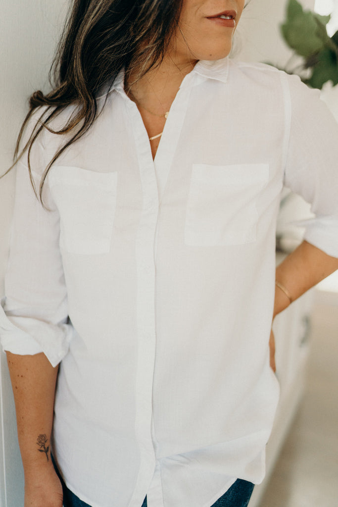"""Knox"" Button-Up Top, White"