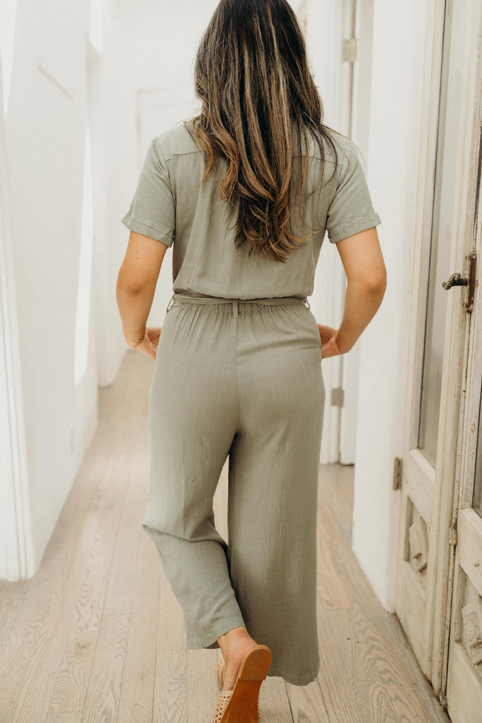 """Graham"" Short Sleeve Jumpsuit, Sage"