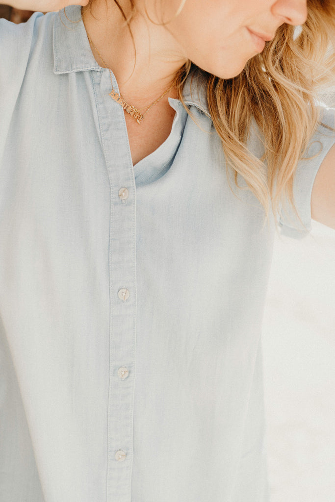 """Darcy"" Short Sleeve Denim Dress, Light Wash"