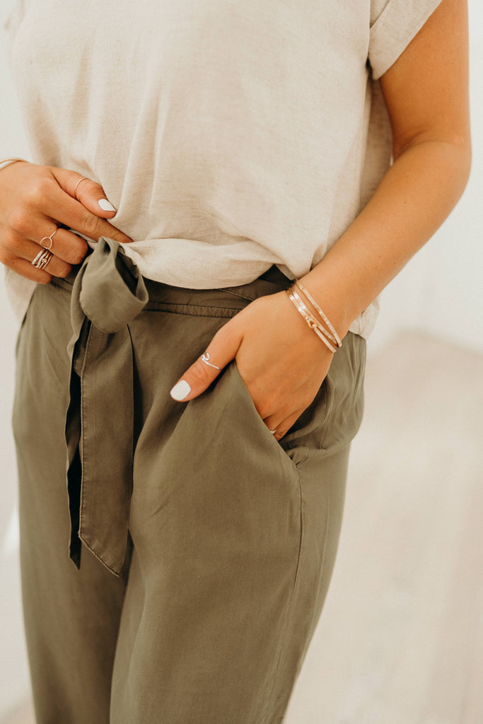"""Forrest"" High Waisted Wide Leg Pants, Olive"