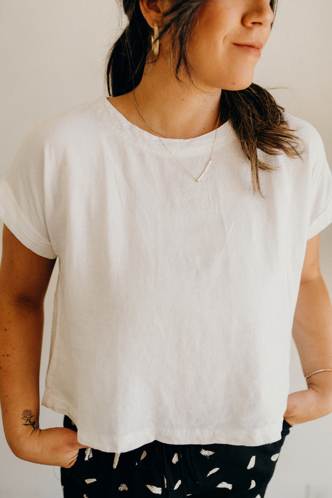 """Hayes"" Short Sleeve Blouse, White"