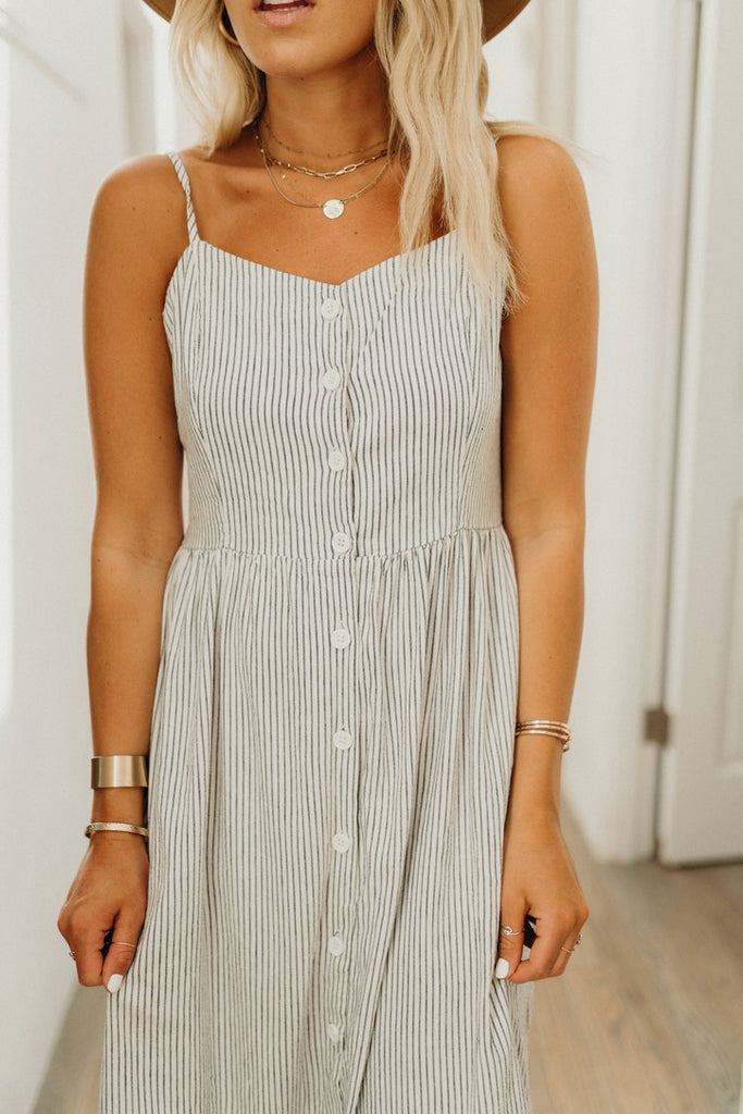 """Ainsley"" Stripe Tank Dress, Navy and White"