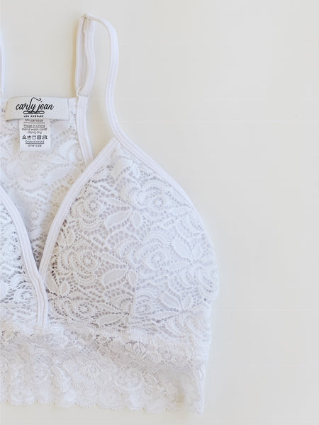 """Everly"" Lace Racerback Bralette, White"