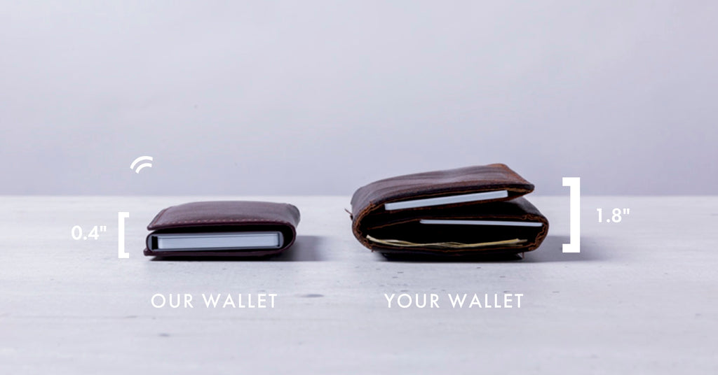 An image comparing a men's minimalist wallet with a traditional wallet. The simple wallet is only 0.4 inches thick, compared to 1.8 inches of the traditional wallet.