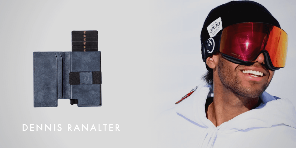 Image of Dennis Ranalter smiling with a ski visor on, and an Ekster slim wallet superimposed next to him.