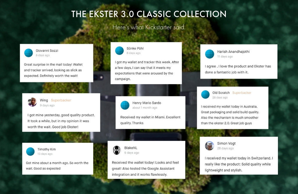 Good reviews for the Ekster 3.0 new smart wallets which are also trackable, taken from Kickstarter