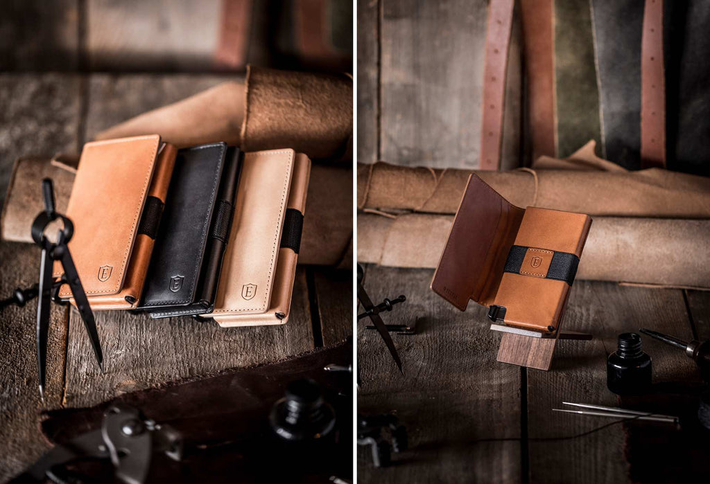 Two side-by-side images of the Vachetta collection of Ekster smart wallets. The image on the left features all three finishes for the Ekster Vachetta Collection, against a wood and leather background. The image on the right features the Ekster Vachetta wallet in Brescia Bronze.