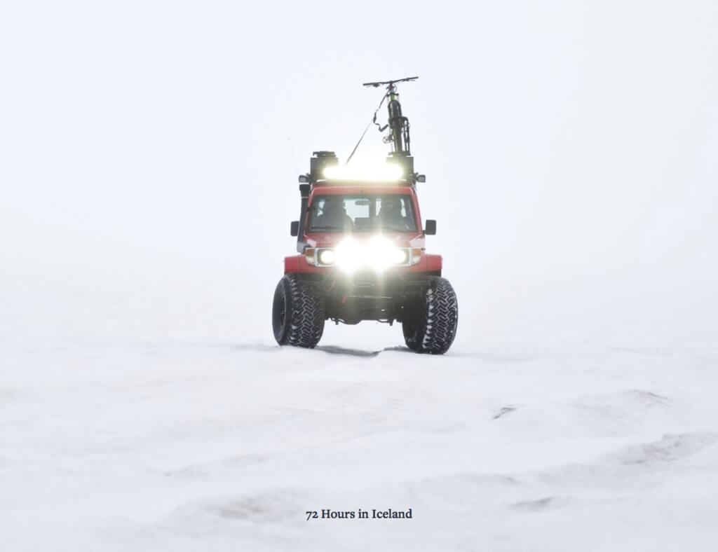 Image of an ATV in snowy slopes. The image has text which reads '72 hours in Iceland.'