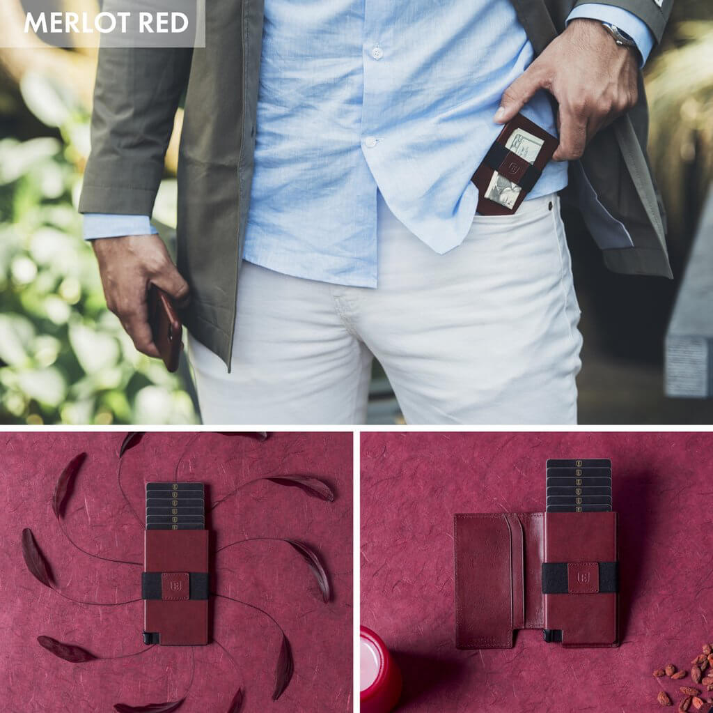 Three images showcasing the kickstarter wallet in a new color. A man slides the slim wallet into his pocket in the first image. Second and third images show a red slim wallet against a red background.
