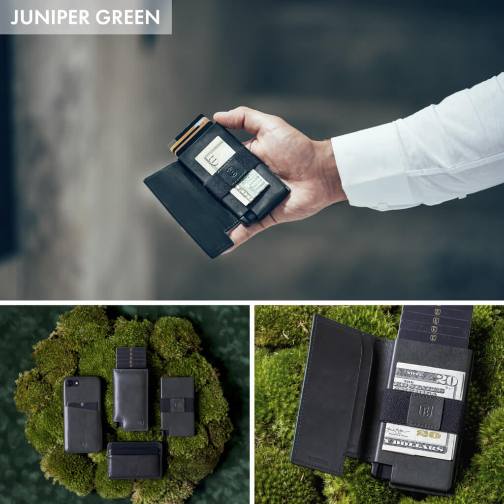 Three varied images: one of a man holding the kickstarter wallet; one displaying different minimalist wallets and cardholders on a mossy background; one showcasing the best smart wallet against a green background.