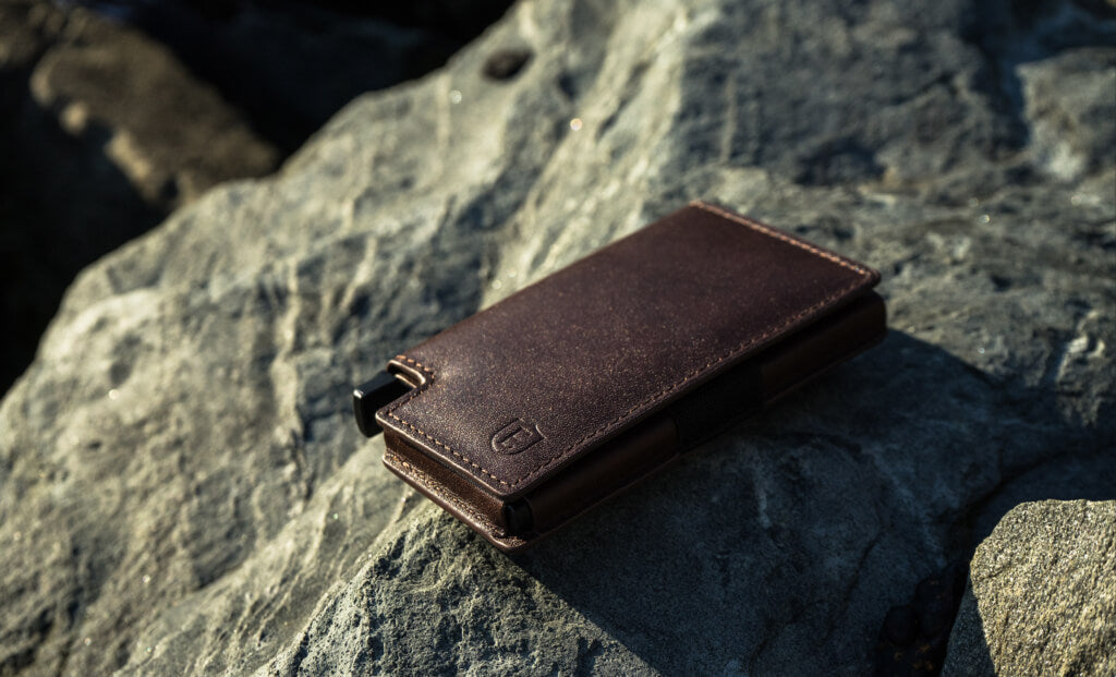 image of a handmade leather wallet, showcasing the craftsmanship of the leather
