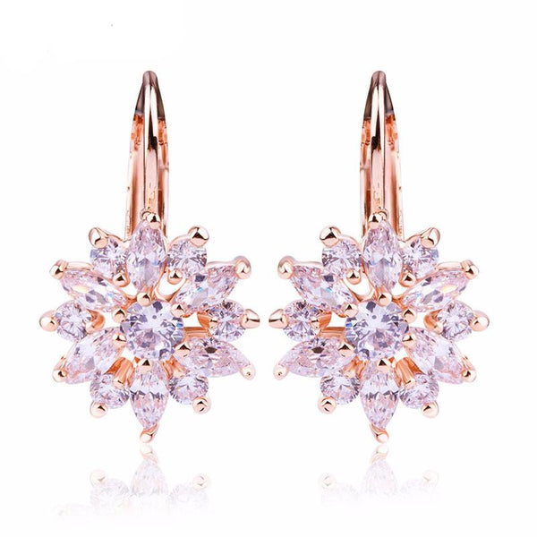 Champagne Gold Flower Stud Women Earrings