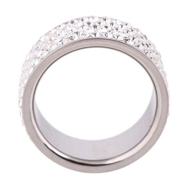 Clear Crystal Jewelry Stainless Steel Ring