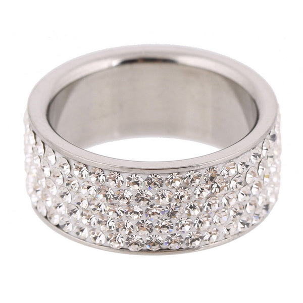Clear Crystal Jewelry Stainless Steel Ring - Embrace Luxury