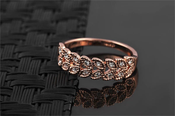 Rose Gold Plated Austrian Engagement Women Ring - Embrace Luxury