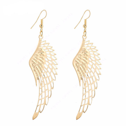 Dangle Long Feather Gold Plated Women Earrings - Embrace Luxury