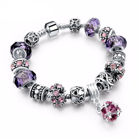 Silver Crystal Charm Murano Glass Women Bracelets - Embrace Luxury