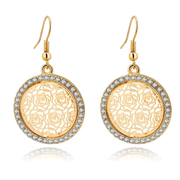 Pendientes Flower Gold Silver Statement Earrings